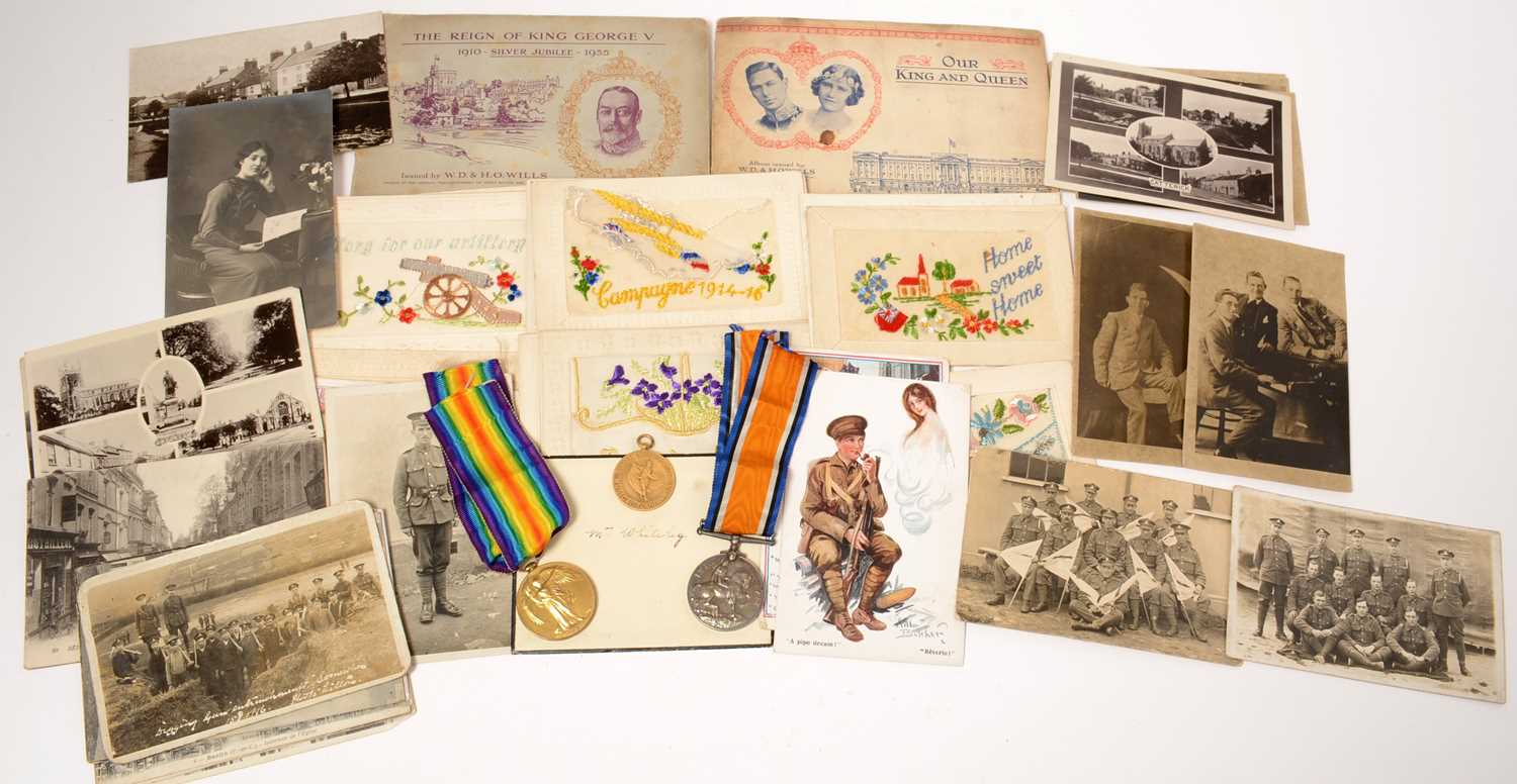 Lot 1001 - A pair of WWI GS medals and effects