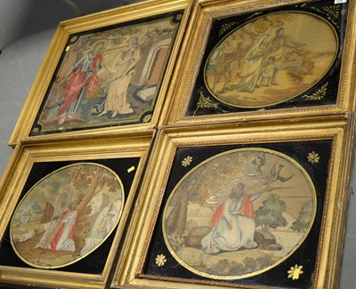 Lot 616 - Selection of framed needlework pictures.