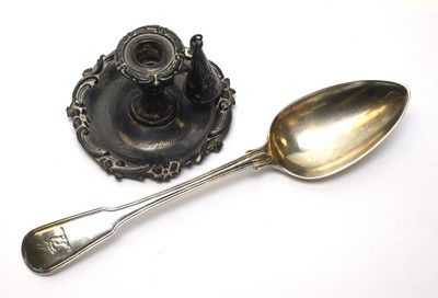 Lot 142 - Silver chamber candlestick and tablespoon