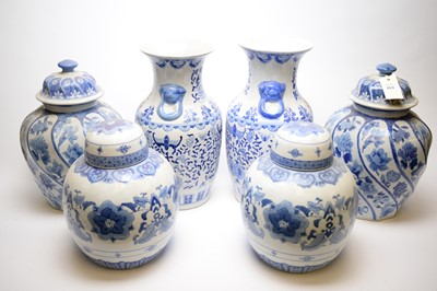 Lot 353 - Three pairs of Chinese style blue and white vases.