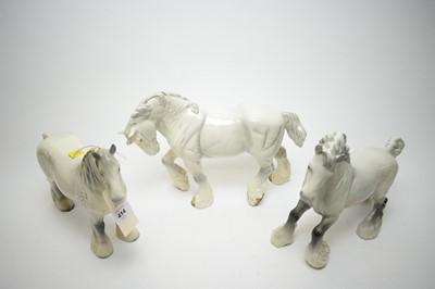 Lot 414 - Three Beswick Gray Shire Horses.