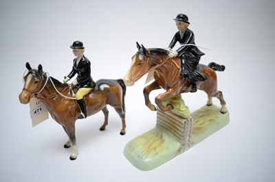 Lot 471 - Beswick model of a lady hunter; and another on Bay Horse.