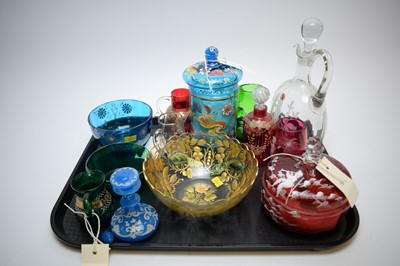 Lot 571 - Coloured and enamel decorated glassware