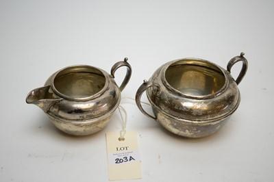Lot 203A - George V silver jug and sugar.