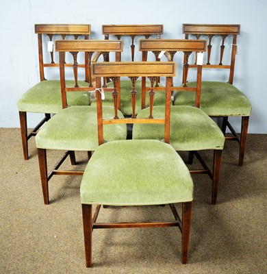 Lot 109 - Set of six 19th C dining chairs.