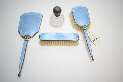 Lot 205A - Silver guilloche enamel back dressing table set; and a scent bottle.