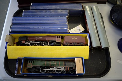 Lot 628 - Two Hornby Dublo locomotives and four carriages.