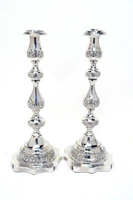 Lot 192 - A pair of George V silver Sabbath candlesticks