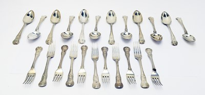Lot 167 - Georgian silver King's pattern table forks and spoons