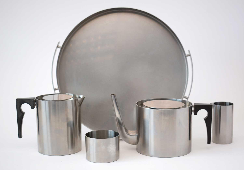 Lot 770 - Arne Jacobsen Stelton stainless steel tea set