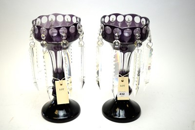 Lot 432 - pair of overlay glass table lustres.