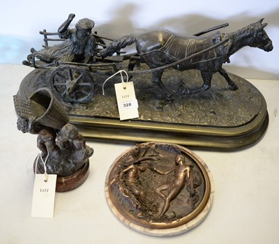 Lot 328 - Bronzed figure group of a horse and cart and two others.