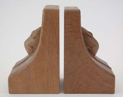Lot 772 - A pair of Robert Thompson 'Mouseman' oak Bookends.