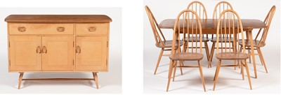 Lot 794 - Ercol Windsor style sideboard, dining table and six 'Quaker' Windsor dining chairs.
