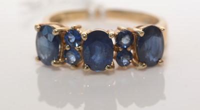 Lot 186 - Seven-stone Kanchanaburi sapphire ring.
