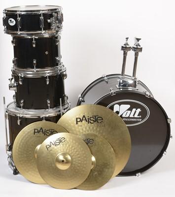 Lot 583A - A Volt by Voggenreiter black finished drum kit.