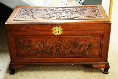 Lot 120 - 20th C Chinese sandalwood carved chest.