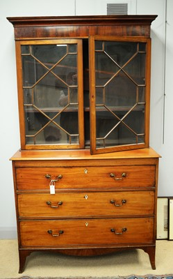 Lot 117 - An early 19th C bookcase on chest.