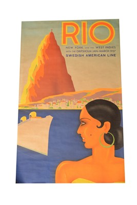 Lot 1291 - An Art Deco travel poster 'Rio', artwork by Ake Rittmark