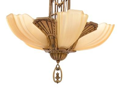 Lot 784 - Canadian Art Deco gilt metal Electrolier