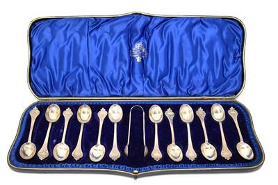 Lot 154 - A Victorian cased set of twelve teaspoons and sugar tongs