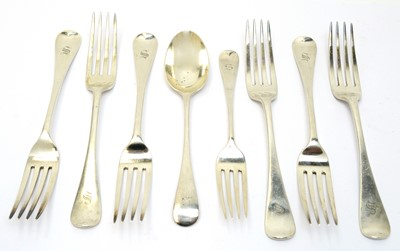 Lot 157 - Six silver table forks, and a dessert fork and spoon