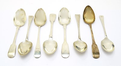 Lot 159 - Seven silver table spoons