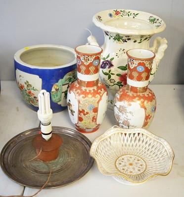 Lot 297 - Pair of Kutani vases; Pirkenhammer dish; Jardiniere; and a  vase