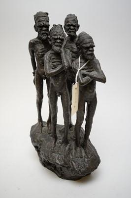 Lot 434 - Peter Sedcole bronzed resin Aboriginal figure group.