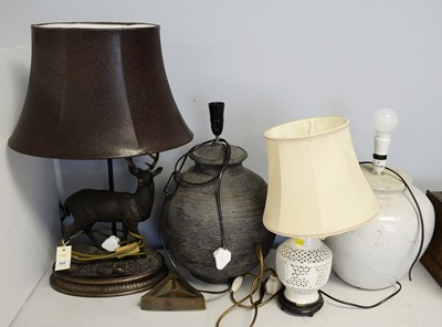 Lot 328 - Figural table lamp; and three other table lamps, various.