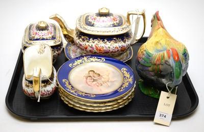 Lot 374 - 19th C teapot, stand, milk jug and sugar bowl; and other ceramics.