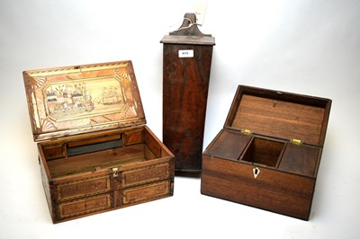 Lot 415 - Napoleonic Prisoner of War work box; candle box; and tea caddy.