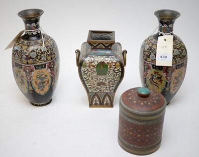Lot 430 - Pair of Japanese cloisonne vases; Champleve vase; and Royal Doulton tobacco jar.