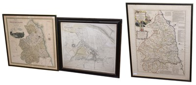 Lot 539 - Map of county of Northumberland , another map of Northumberland and plan of Hexham