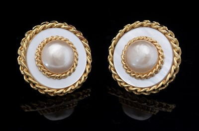 Lot 756 - Chanel: faux mabe-pearl and mother-of-pearl effect earrings