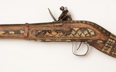Lot 1092 - A 19th Century Afghan Jezail rifle with later added lock
