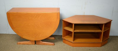 Lot 86 - G-plan; A teak gateleg dining table and TV table.