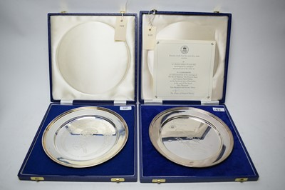 Lot 185 - Two Royal commemorative silver dishes