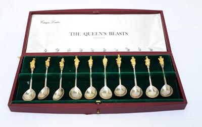 Lot 195 - An Elizabeth II silver 'The Queen's Beasts' spoon set