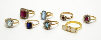 Lot 217 - A selection of eight gem set rings