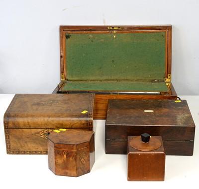 Lot 350 - Edwardian sewing box; writing boxes and tea caddies.