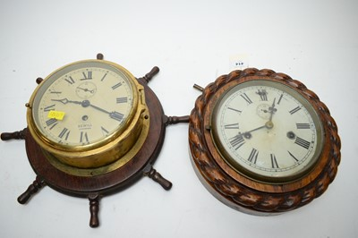 Lot 414 - A Sewill Liverpool brass cased ships clock and another.