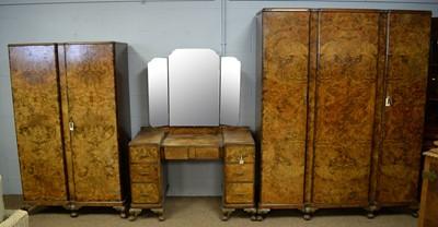 Lot 103 - Art Deco walnut bedroom suite