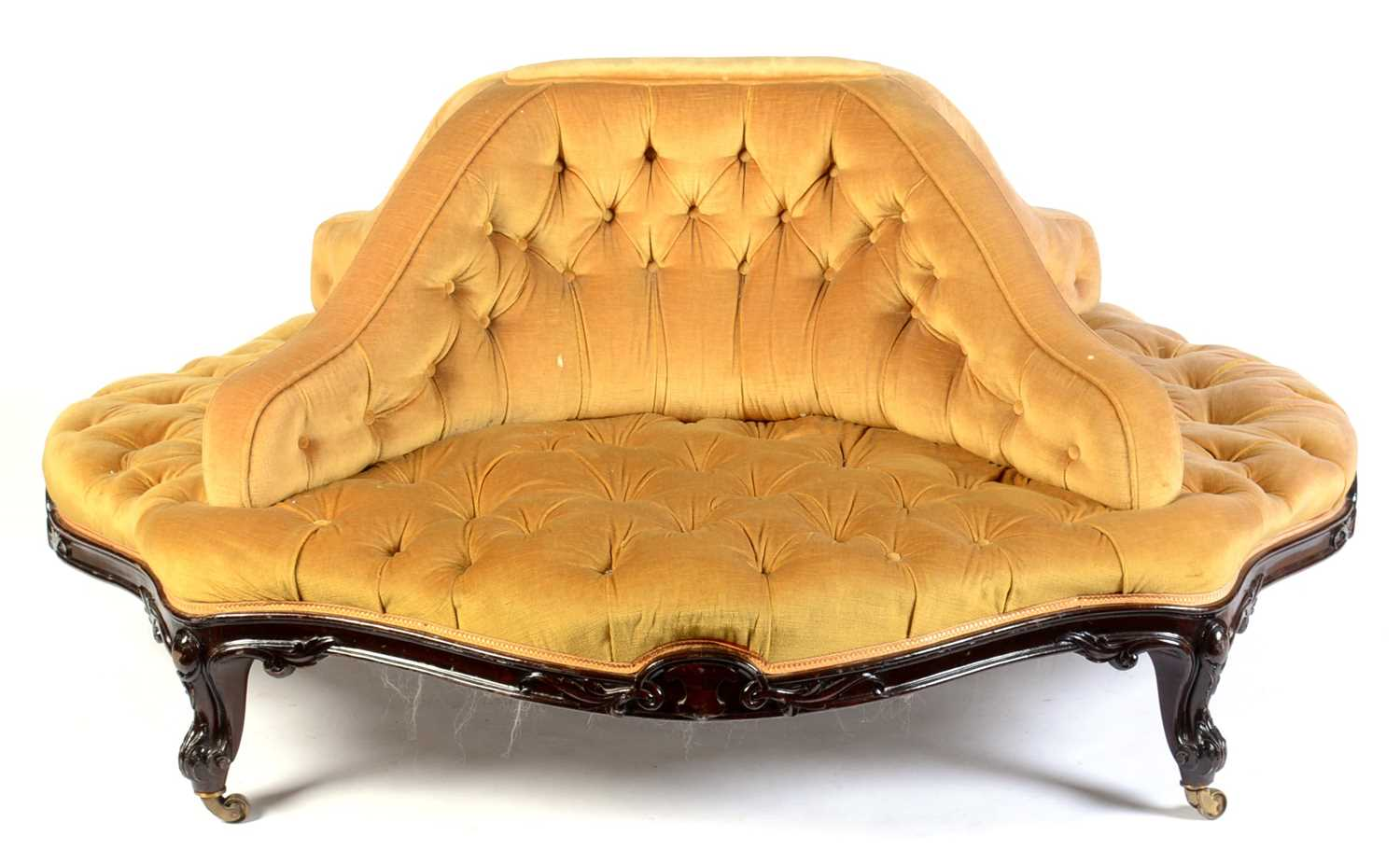 Lot 687 - Victorian rosewood framed conversation seat