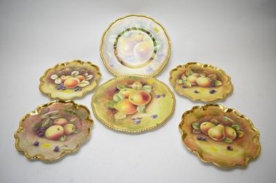 Lot 390 - Collection of handpainted Coalport fruit plates.