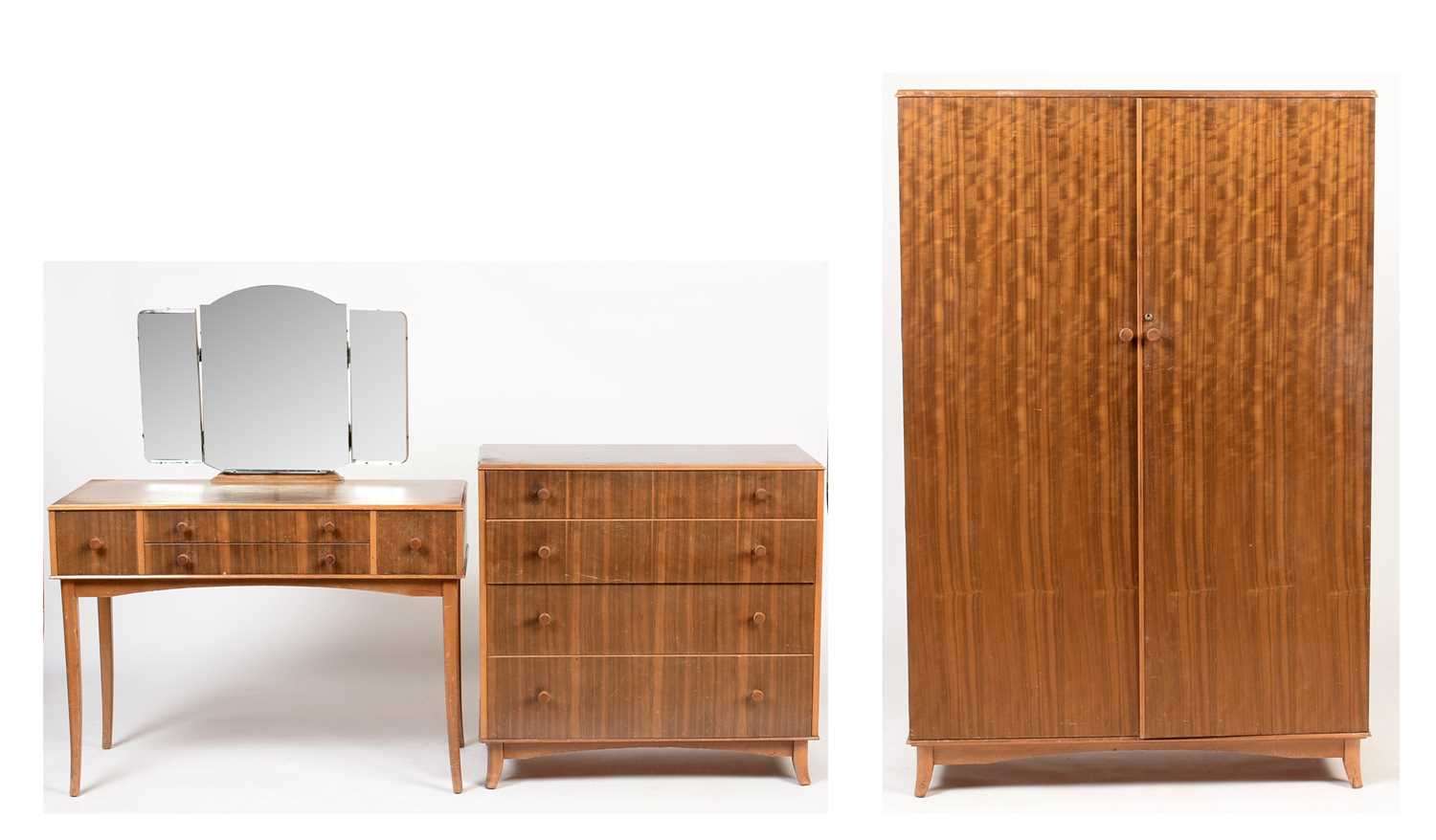 Lot 802 - Vesper furniture: dressing table, four-drawer chest and wardrobe