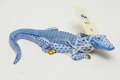 Lot 352 - A Herend figure of a crocodile.