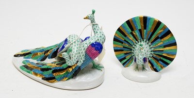 Lot 353 - Herend figure group of two peacocks and another.