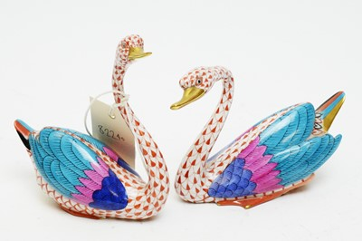 Lot 356 - Two Herend figures of swans.