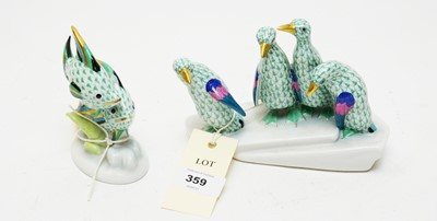 Lot 359 - Herend penguin figure group and a Herend fish figure group.